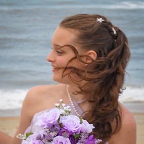 Bridesmaid by Ashley Ellis - Wedding Ceremony ( water ocean lavender flowers ceremony bridesmaid wind breeze )