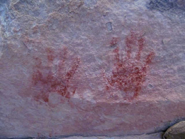 Red handprints