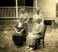 """Photo: Daughters of Allen Nimrod Webb: Parlee Webb Henson (sitting left); Sarah Armilda """"Mil"""" Webb Coonce (sitting, right); Laura Jane Webb Fitzgerald (standing, left); and (probably) Mary Magdaline """"Maggie"""" Webb Smith."""
