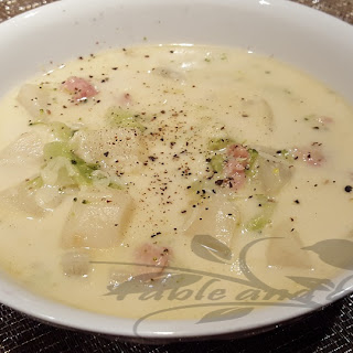 Broccoli Soup with Ham and Swiss.