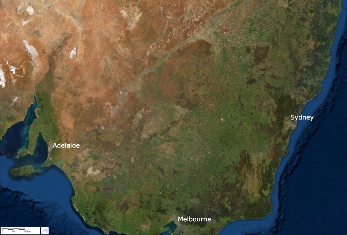 Satellite image of south east Australia