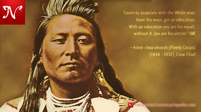 Photo: Learn to associate with the White man, learn his ways, get an education. With an education you are his equal; without it, you are his victim. —Aleek-chea-ahoosh (Plenty Coups) (1848 - 1932), Crow Chief