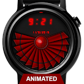 Watch Face: Cyber Red Tech - Wear OS Smartwatch Android APK Download Free By Osthoro