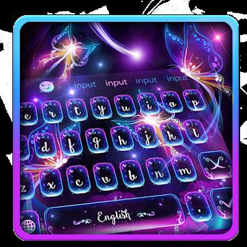 Fluorescent Butterflies Keyboard Theme
