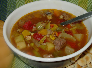 Pam's Mountain Of Vegetables And Beef Soup Recipe