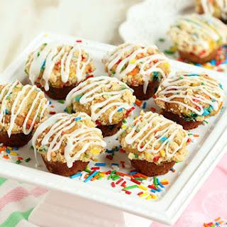 Funfetti Coffee Cake Muffins with Lemon Glaze.