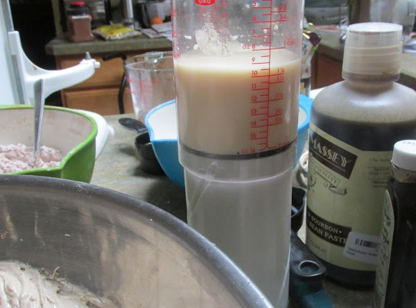 With remaining liquid mixture. Beat until it is completely mixed.