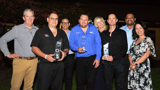 From left: Werner Engelbrecht, General Manager from Kyocera SA; in first place, Anton Nell from MPU Copiers; Paul Wendlandt, Customer Services Support Manager from Kyocera SA; in second place, Christopher Wait from Omni Technologies; Lee Ann Kellner, Channel Sales Manager from Kyocera SA; in third place, Chris Schutte from Kokstad Copiers; Angelo Williams, Product Technical Trainer from Kyocera SA; Sharon Peché, Marketing and Communications Manager from Kyocera SA.