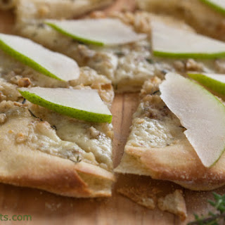 Gorgonzola, Walnut And Pear Pizza With Fresh Thyme