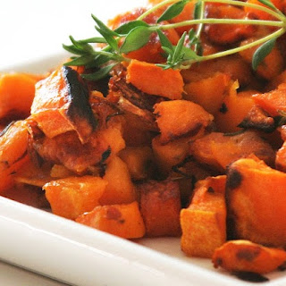 Thyme-Roasted Garlic Sweet Potatoes