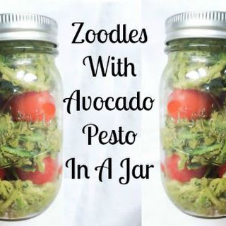 Zoodles with Avocado Pesto in a Jar.
