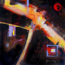 Photo: RED MOON OVER THE HIGHWAY - 60 x 60 cm, acrylics on wide edge canvas