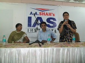 Photo: UPSC Toppers Seminar 2012 with Mrs. Bilquees Khatri, toppers Mr. Ajay Kumat AIR 679 & Tejaswi Satpute AIR 198 at A A SHAH's IAS Institute, FORT