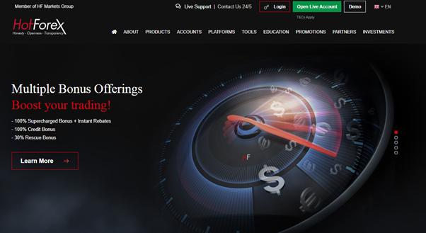 Main page of HotForex broker's website