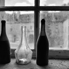 Bottles On The Window Bench by Marco Bertamé - Artistic Objects Glass ( window bench, light, bottles, forgotten, still life, window, three, window sill, empty )