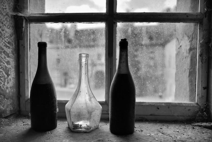 Bottles On The Window Bench by Marco Bertamé - Artistic Objects Glass ( window bench, light, bottles, forgotten, still life, window, three, window sill, empty )