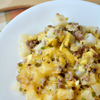 Easy Cheesy Sausage Potato Breakfast Casserole.