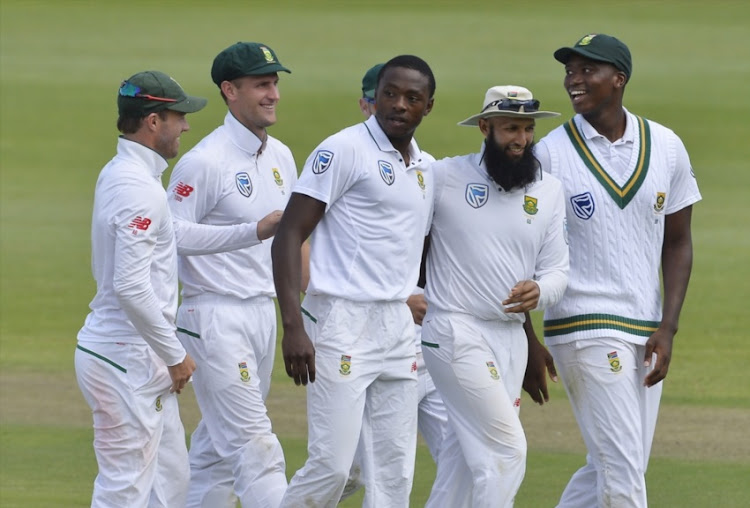 Kagiso Rabada of South Africa celebrate during day 1 of the 2nd Sunfoil Test match between South Africa and Australia at St George's Park on March 09, 2018 in Port Elizabeth.