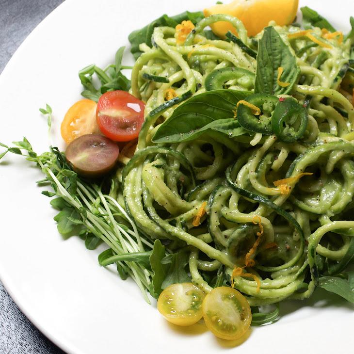 Zucchini Pasta + Creamy Avocado-Cucumber Sauce Recipe