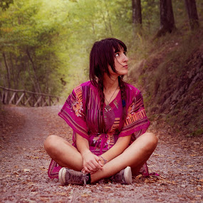 Into the woods by Livio Siano - People Portraits of Women ( girl, beautiful, trees, sunshine, beauty, woods )