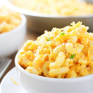 Creamy Sweet Potato Squash Mac and Cheese