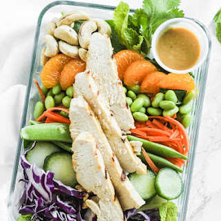 Meal Prep Asian Miso Chicken Salad Bowls.