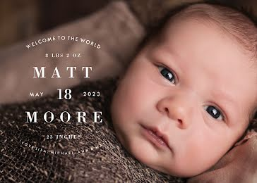Matt's Birth Announcement - New Baby Announcement Template