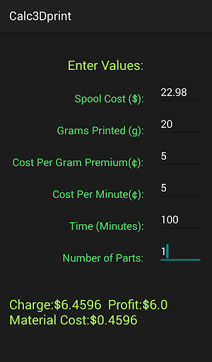 3D Printer Job Calculator