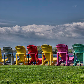 Colorful view of the seashore by Ruth Sano - Artistic Objects Other Objects ( clouds, colorful, chairs, beach, photography,  )