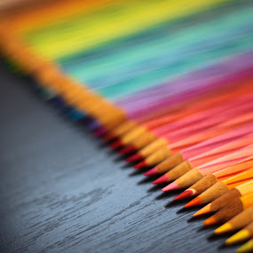 Colorful Pencils by ChenLin Kng - Artistic Objects Other Objects ( pencil, colorful, colour pencil, rainbow, bokeh )