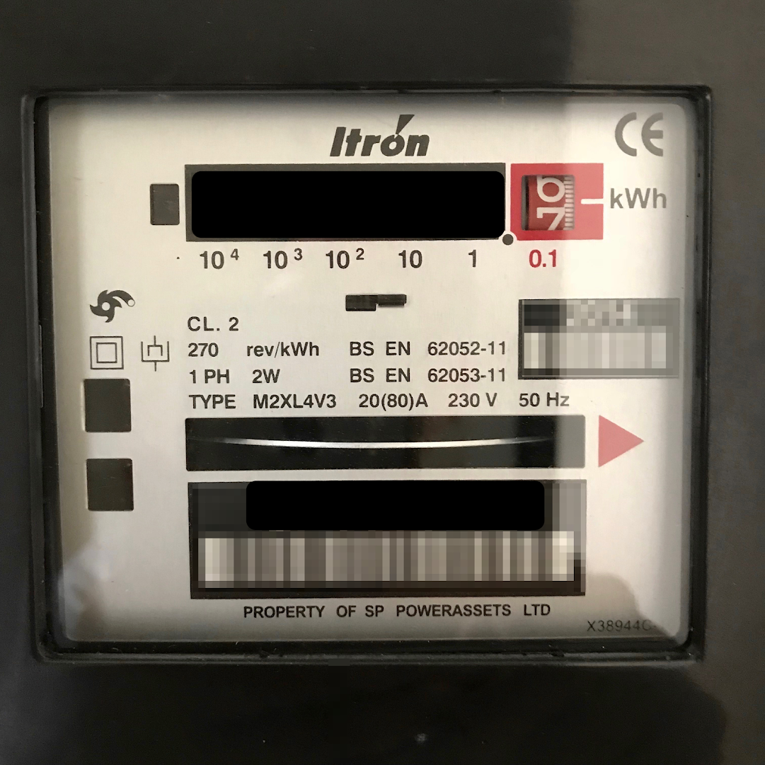 Photo of electricity meter.