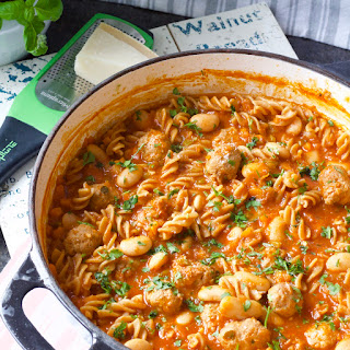 One Pot Beans & Meatballs Pasta Recipe