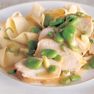 Sautéed Chicken Breasts with Fava Beans and Green Garlic.