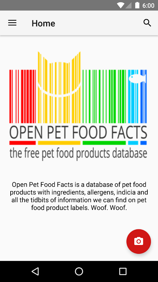 Open Pet Food Facts- screenshot