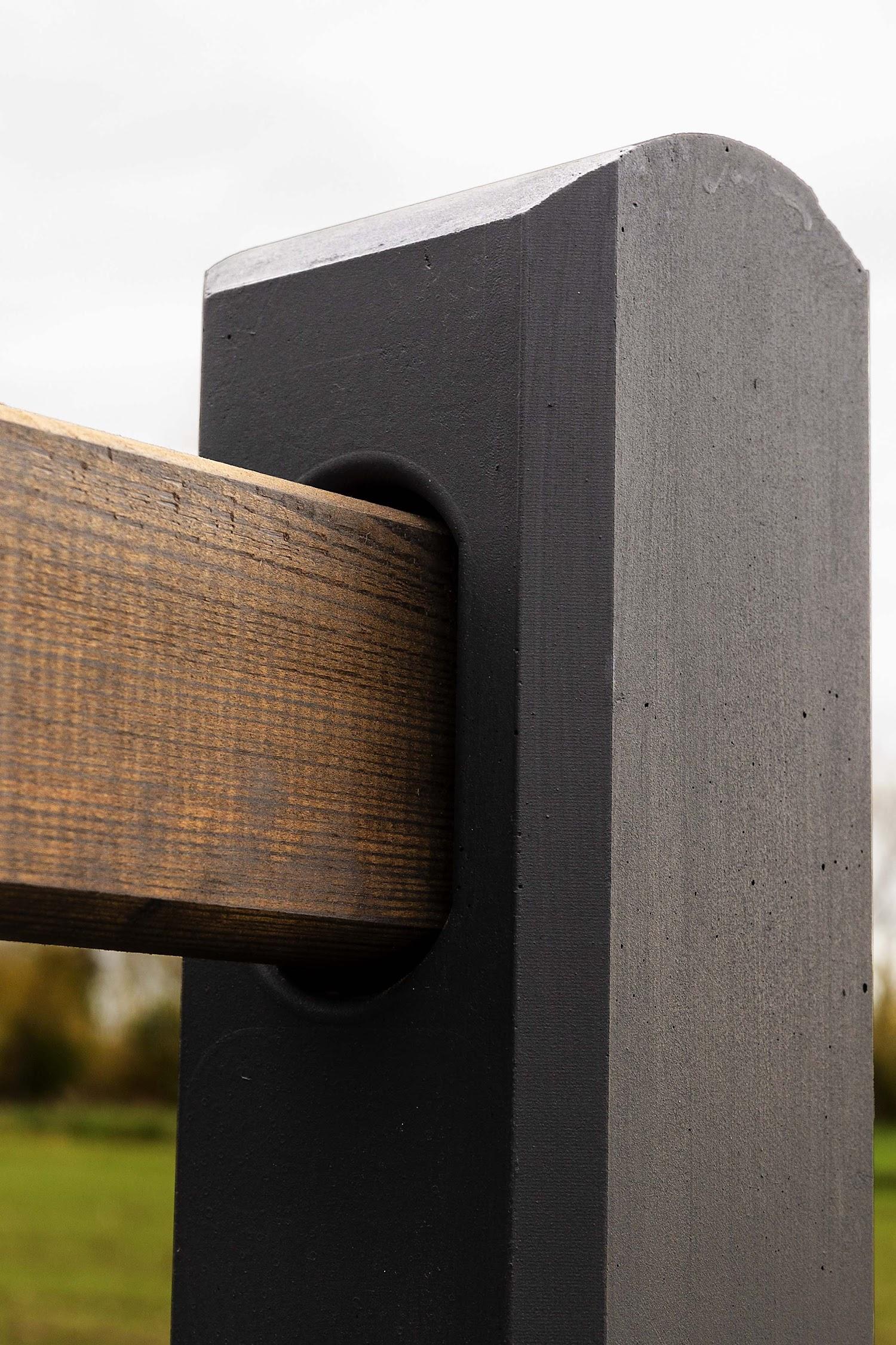 Detail betonnen paal omheining weide