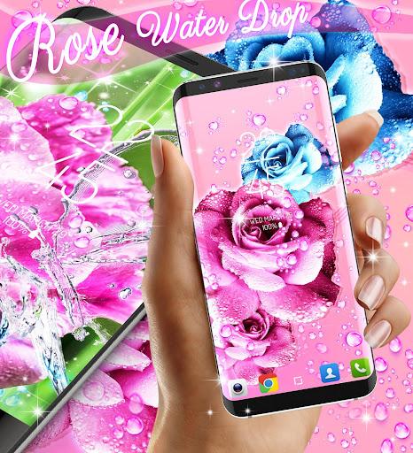 Rose pink water drop live wallpaper screenshots 1