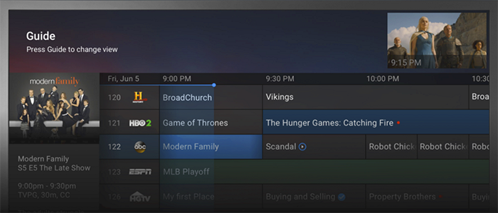 Google Fiber TV channel guide
