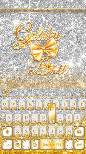 Golden Bow Luxury theme -elegant glitter wallpaper Screenshot