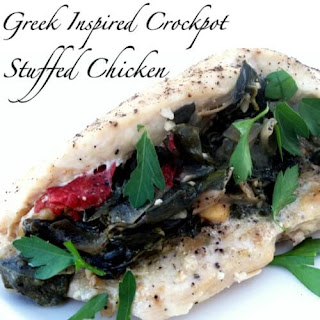 Greek Inspired Crockpot Stuffed Chicken Breasts