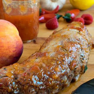 Peppery Peach Glazed Pork Tenderloin.