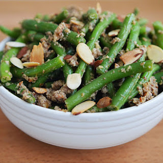 Steamed Green Beans with Toasted Almond-Mushroom Pesto