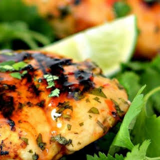 Grilled Lime Cilantro Chicken With Sweet Chili Sauce.