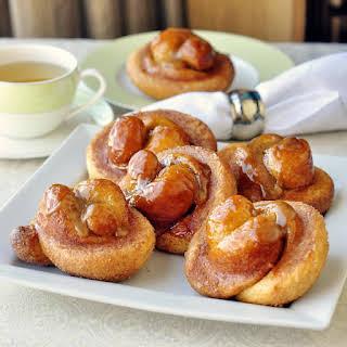 Toffee Cinnamon Knot Breakfast Rolls.