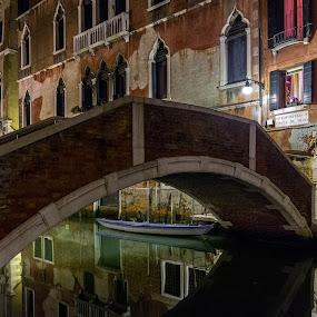 Night Landscape by Pascal Bénard - City,  Street & Park  Vistas ( reflection, carnaval, night, venise, bridge )