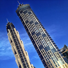 JW Marriott Marquis Hotel, Dubai by Errol Rebello Photography - Instagram & Mobile iPhone ( clouds, cityscapes, jw marriott, tallest hotel, szr, jw, iphone4s, marquis, sheikh zayed road, landscape, iphone, blue sky, dubai, marriott, uae, twin towers, hotel, evening, world, tall )