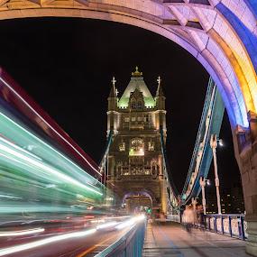 Woosh!  by Rashid Ramdan - Buildings & Architecture Bridges & Suspended Structures ( urban, uk, london, sony alpha, night, bridge, united kingdom, nightscape )
