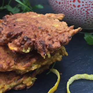 Curried Carrot Fritters with a Yoghurt Dip