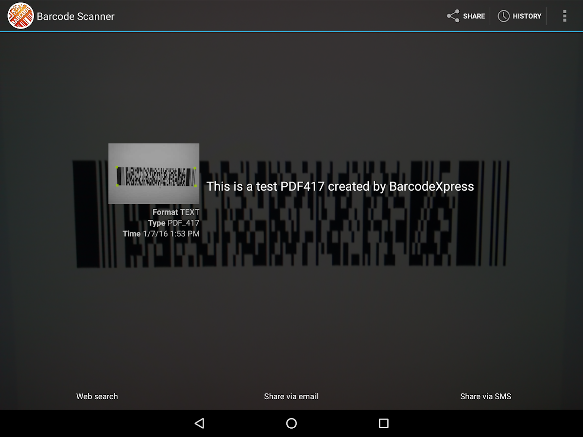 Accusoft Barcode Scanner- screenshot