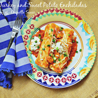 Turkey and Sweet Potato Enchiladas with Chipotle Red Sauce
