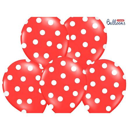 Ballonger - Röda med vita prickar